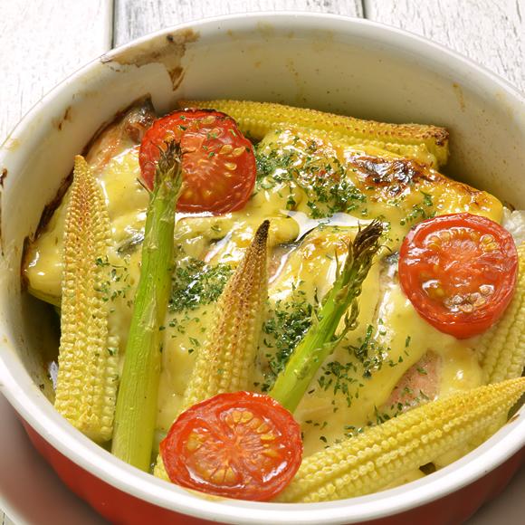 サーモンのタルタル焼き、焼き野菜を添えて