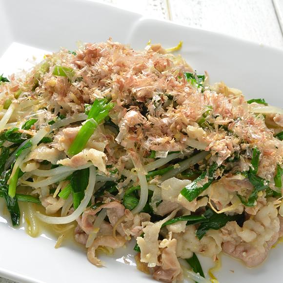 【時短メニュー】カリカリ豚肉とニラもやし味噌炒め