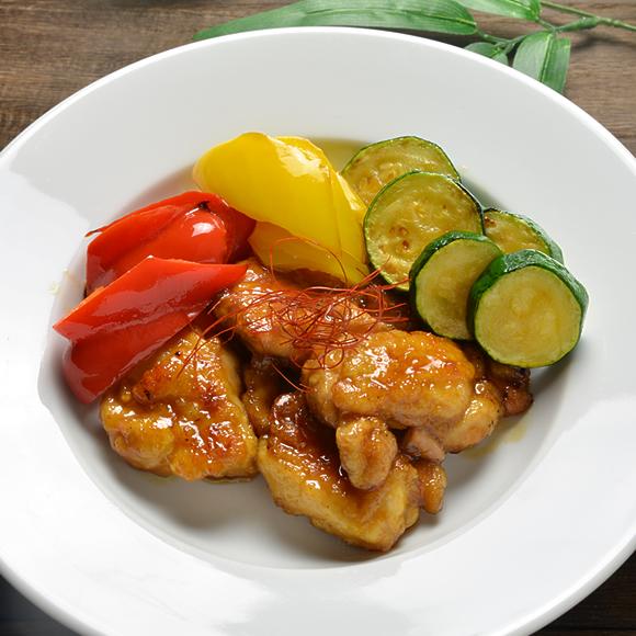 鶏のくわ焼き、夏野菜を添えて