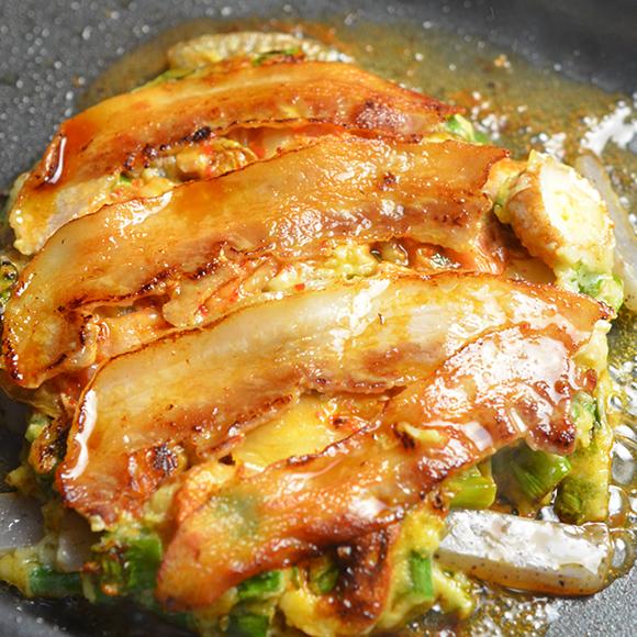 お米育ち豚 de カリふわねぎ焼き