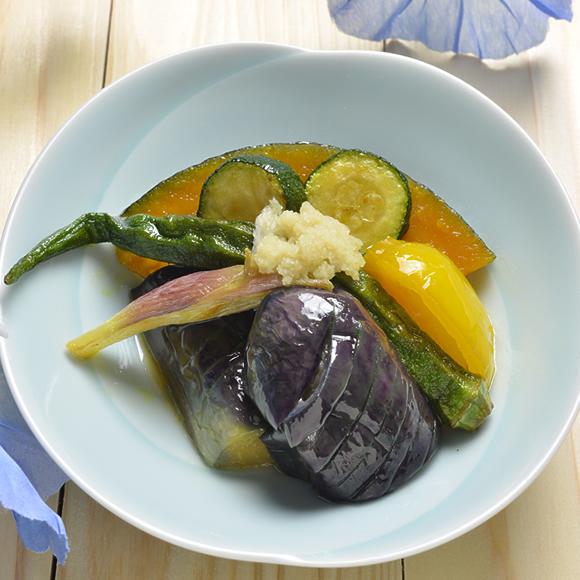 冷たくひやして、夏野菜の揚げ浸し