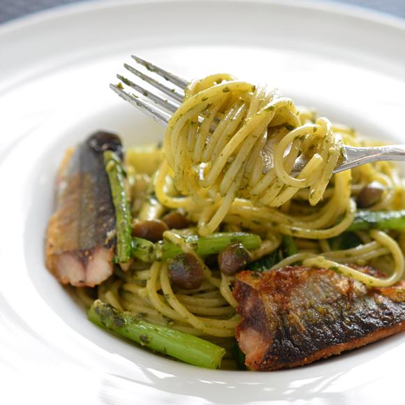 目指せお店の味!秋刀魚のジェノベーゼスパゲッティ