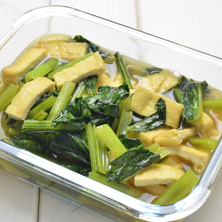 作り置きおかずシリーズ、小松菜と油揚げの煮浸し