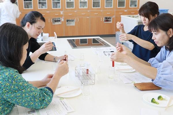 市販の「うがい薬」を使って、冷凍食品と生鮮食品のビタミンCの含まれる量を比較する実験。ビタミンCの残存に大きな差がないことを確認